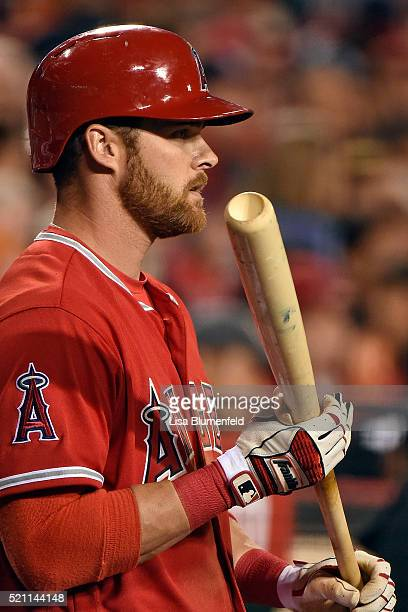 Craig Gentry of the Los Angeles Angels of Anaheim bats against the Texas Rangers at Angel Stadium of Anaheim on April 9 2016 in Anaheim California