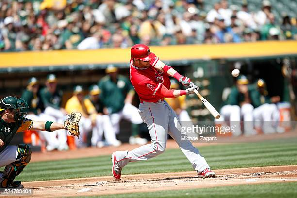 Craig Gentry of the Los Angeles Angels of Anaheim bats during the game against the Oakland Athletics at the Oakland Coliseum on April 13 2016 in...
