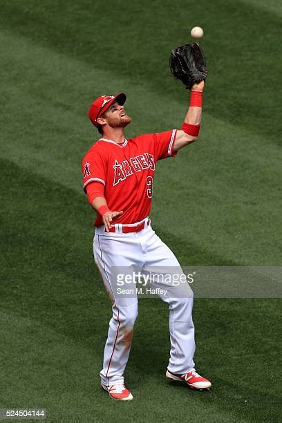 Craig Gentry of the Los Angeles Angels of Anaheim catches a fly ball during a baseball game between the Los Angeles Angels of Anaheim and the Seattle...