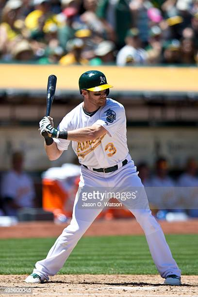 Craig Gentry of the Oakland Athletics at bat against the Detroit Tigers during the fourth inning at Oco Coliseum on May 26 2014 in Oakland California...