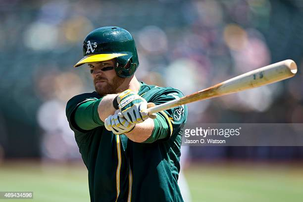 Craig Gentry of the Oakland Athletics before an at bat against the Seattle Mariners during the first inning at Oco Coliseum on April 11 2015 in...