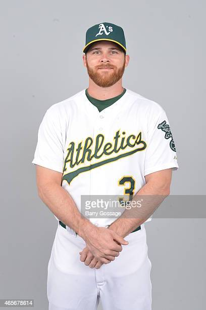 Craig Gentry of the Oakland Athletics poses during Photo Day on Saturday February 28 2015 at Phoenix Municipal Stadium in Phoenix Arizona