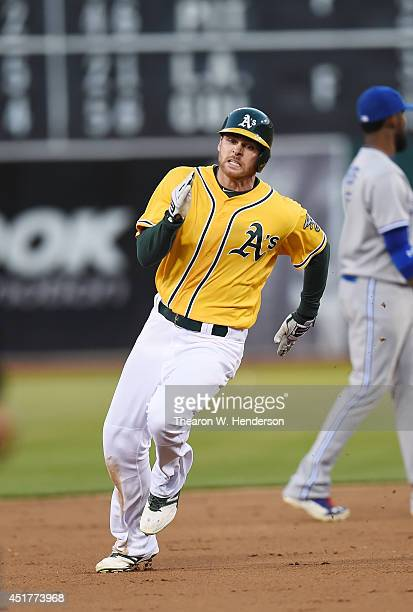 Craig Gentry of the Oakland Athletics runs the bases in the bottom of the eighth inning against the Toronto Blue Jays at Oco Coliseum on July 3 2014...