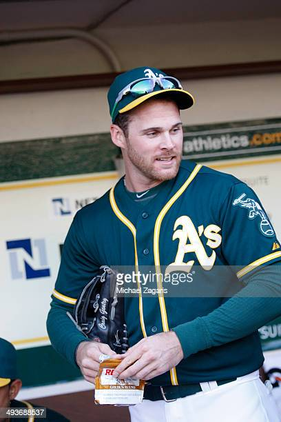 Craig Gentry of the Oakland Athletics stands in the dugout prior to the game against the Seattle Mariners at Oco Coliseum on May 6 2014 in Oakland...