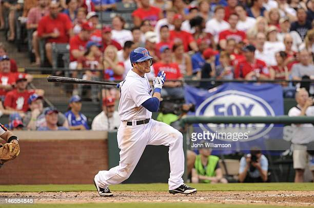 Craig Gentry of the Texas Rangers bats against the Houston Astros at Rangers Ballpark on June 16 2012 in Arlington Texas The Texas Rangers defeated...
