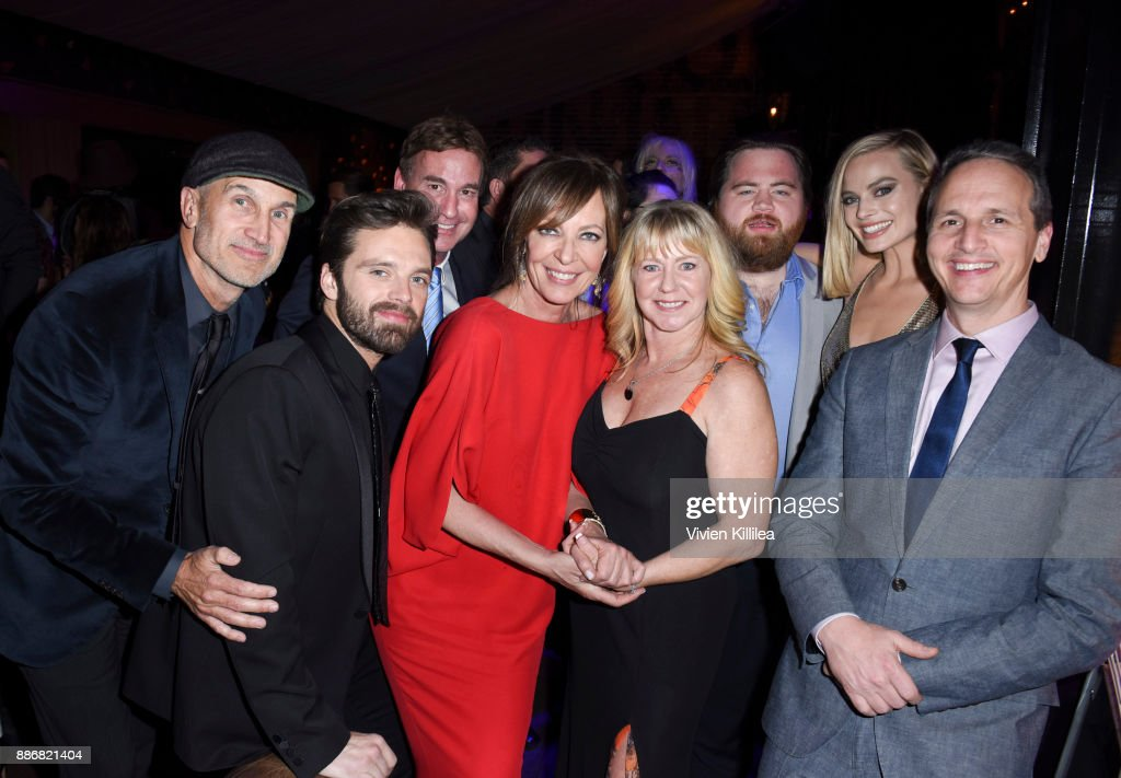 Craig Gillespie, Sebastian Stan, Steven Rogers, Allison Janney, Tonya Harding, Paul Walter Hauser, Margot Robbie and Tom Quinn attend NEON and 30WEST Present the Los Angeles Premiere of 'I, Tonya' Supported By Svedka on December 5, 2017 in Los Angeles, California.