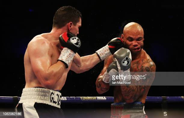 Craig Glover fights Simon Vallily during a Cruiserweight Contest at Metro Radio Arena on October 13 2018 in Newcastle upon Tyne England