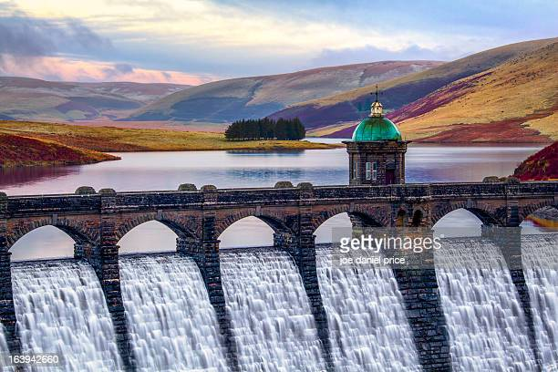 craig goch dam, rhayader, elan valley, wales - dam stock pictures, royalty-free photos & images
