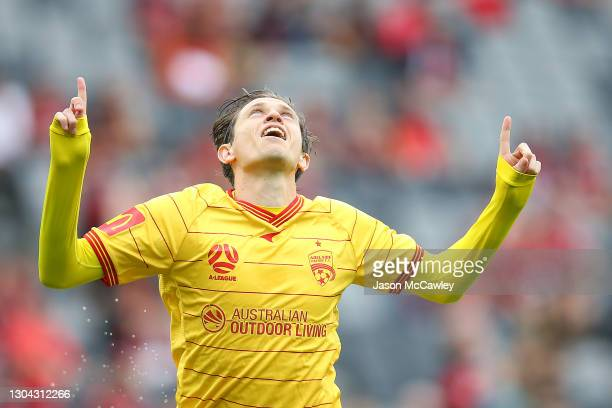 Craig Goodwin of Adelaide United celebrates after scoring a goal during the A-League match between the Western Sydney Wanderers and Adelaide United...