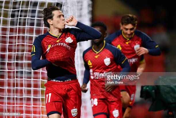 Craig Goodwin of Adelaide United celebrates after scoring his teams second goal during the A-League match between Adelaide United and the Newcastle...