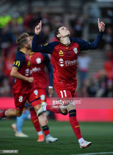 Craig Goodwin of Adelaide United celebrates after scoring his teams first goal from a penalty during the A-League match between Adelaide United and...