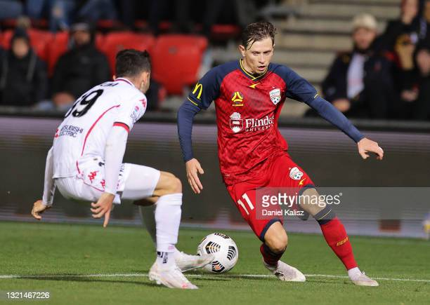 Craig Goodwin of Adelaide United controls the ball during the A-League match between Adelaide United and Western Sydney Wanderers at Coopers Stadium,...