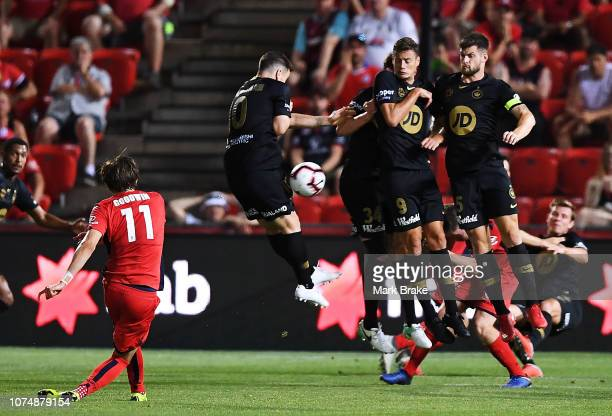 Craig Goodwin of Adelaide United kicks into the Wanderers wall during the round nine ALeague match between Adelaide United and the Western Sydney...