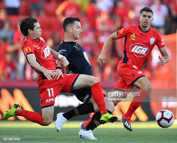 Craig Goodwin of United and Alexander Baumjohann of the Wanderer compete for the ball during the round nine ALeague match between Adelaide United and...