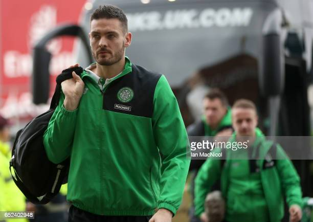 Craig Gordon of Celtic arrives at the stadium prior to the Ladbrokes Scottish Premiership match between Celtic and Rangers at Celtic Park on March 12...