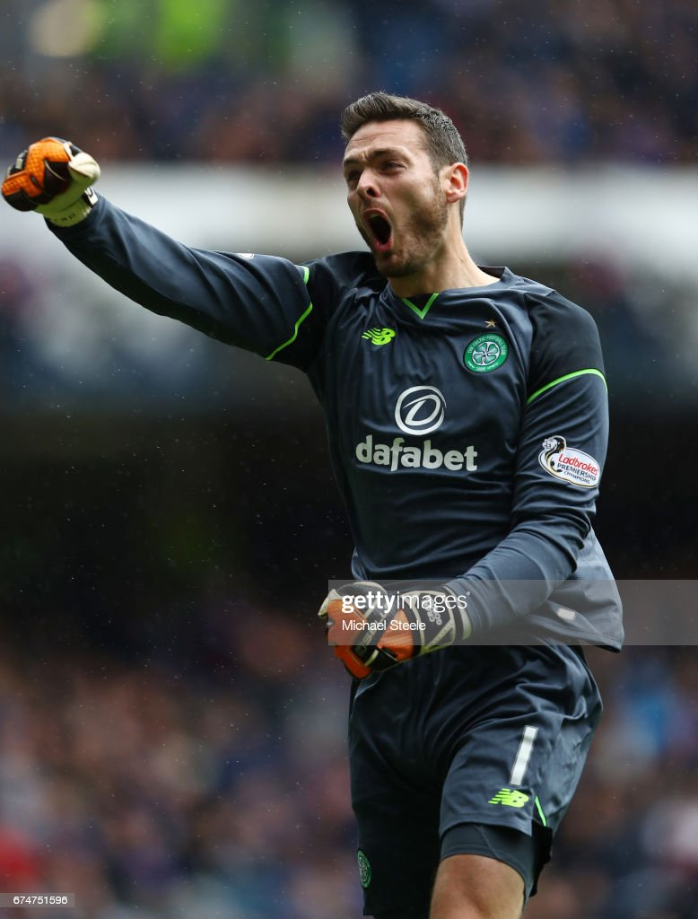 Craig Gordon of Celtic celebrates during the Ladbrokes Scottish Premiership match between Rangers and Celtic at Ibrox Stadium on April 29, 2017 in Glasgow, Scotland.