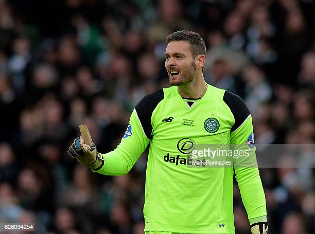 Craig Gordon of Celtic reacts to their opening goal of the game during the Betfred Cup Final between Aberdeen FC and Celtic FC at Hampden Park on...