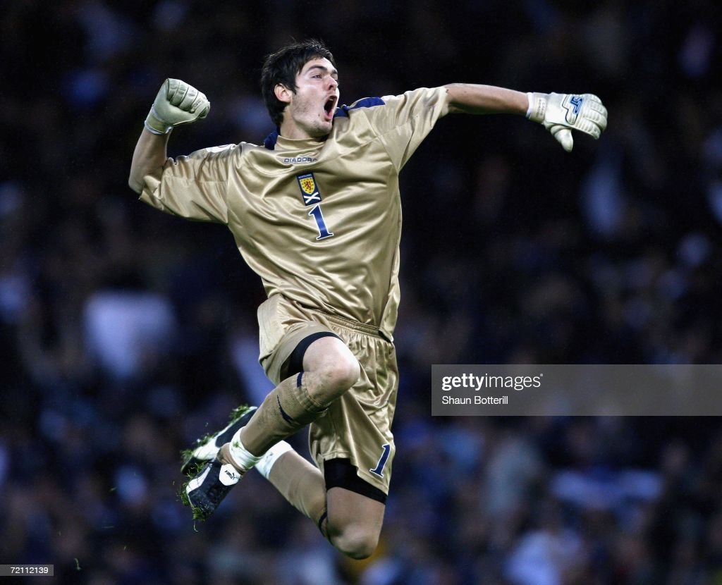 Craig Gordon of Scotland celebrates after his team scored during the UEFA Euro 2008 Group B qualifying match between Scotland and France at Hampden Park on October 7, 2006 in Glasgow, Scotland.