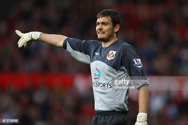 Craig Gordon of Sunderland gestures during the Barclays Premier League match between Manchester United and Sunderland at Old Trafford on October 3,...