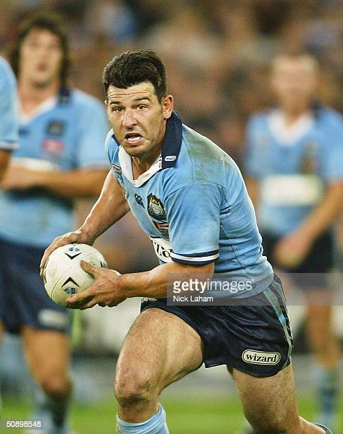 Craig Gower of the Blues in action during game one of the NRL State of Origin Series between the New South Wales Blues and the Queensland Maroons at...