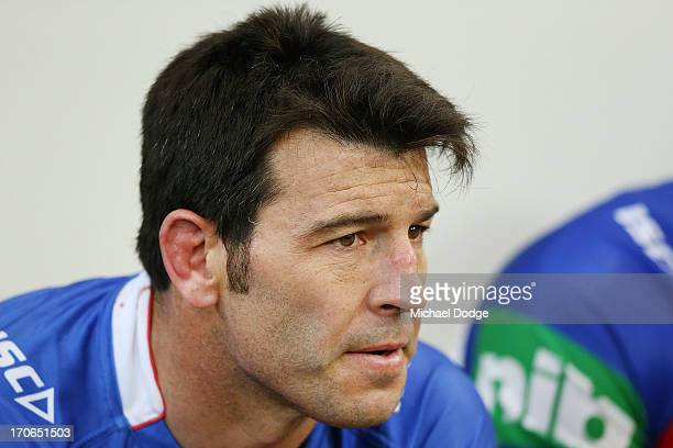 Craig Gower of the Knights looks ahead during the round 14 NRL match between the Melbourne Storm and the Newcastle Knights at AAMI Park on June 16...