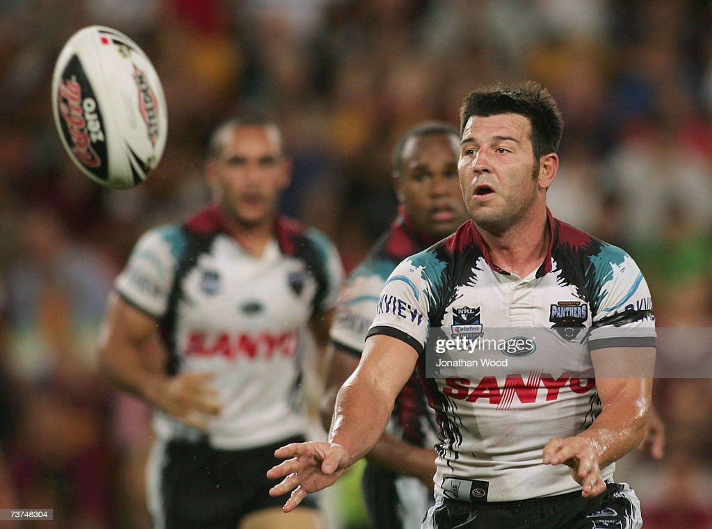Craig Gower of the Panthers gets a pass away during the round three NRL match between the Brisbane Broncos and the Penrith Panthers at Suncorp Stadium March 30, 2007 in Brisbane, Australia.