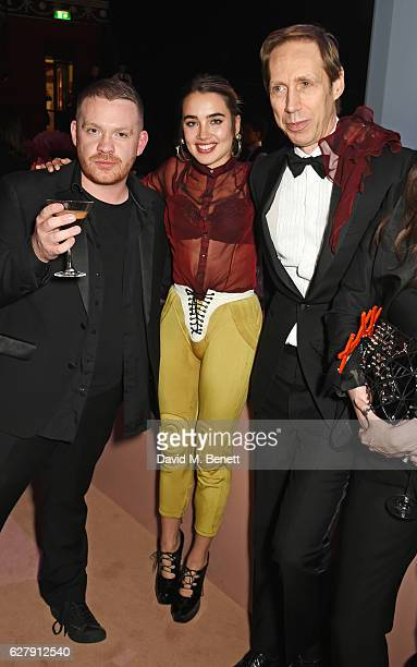 Craig Green Isamaya Ffrench and Nick Knight attend The Fashion Awards 2016 drinks reception at Royal Albert Hall on December 5 2016 in London United...