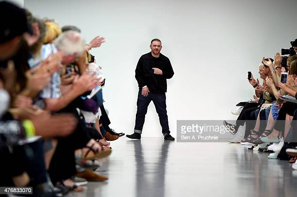 Craig Green on the runway at the Craig Green show during The London Collections Men SS16 at Victoria House on June 12 2015 in London England