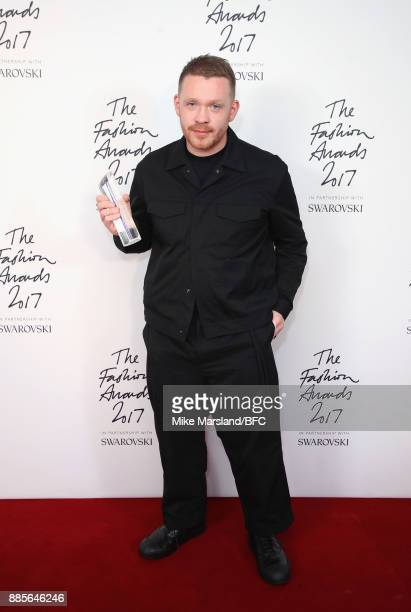 Craig Green poses in the winners room with the British Designer of the Year for Menswear Award during The Fashion Awards 2017 in partnership with...