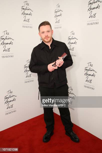 Craig Green winner of British Designer of the Year Menswear award in the winners room during The Fashion Awards 2018 In Partnership With Swarovski at...