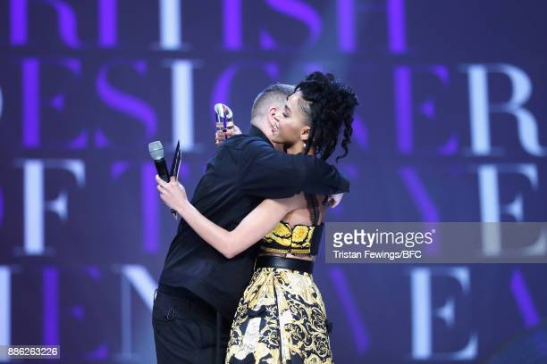Craig Green winner of the British Designer of the Year Menswear award and FKA Twigs on stage during The Fashion Awards 2017 in partnership with...