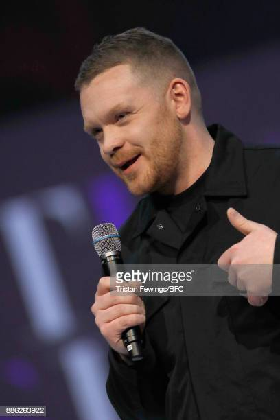 Craig Green winner of the British Designer of the Year Menswear award on stage during The Fashion Awards 2017 in partnership with Swarovski at Royal...