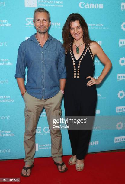 Craig Hall and Sara Wiseman attend the Flickerfest International Short Film Festival Opening Night at Bondi Beach on January 12 2018 in Sydney...