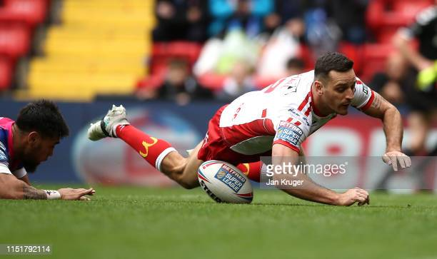 Craig Hall of Hull Kingston Rovers scores his sides second try during the Betfred Super League: Dacia Magic Weekend match between Salford Red Devils...