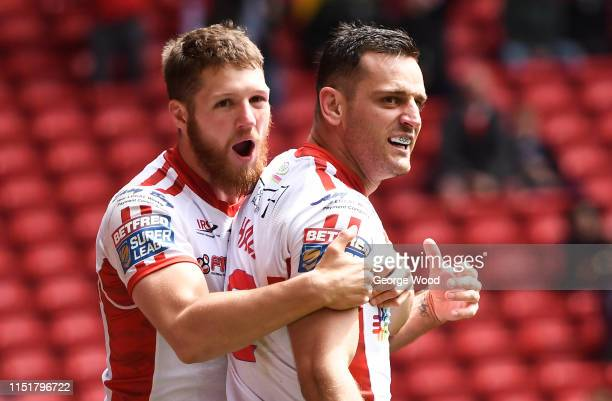 Craig Hall of Hull Kingstone Rovers celebrates with his team mate after scoring a try during the Betfred Super League: Dacia Magic Weekend match...
