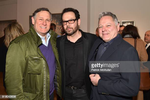 Craig Hatkoff Neil Grayson and Michael Caruso attend Neil Grayson Industrial Melanism solo exhibition at Eykyn Maclean Gallery on February 13 2018 in...