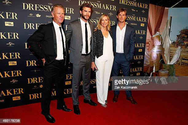 Craig Hemsworth Liam Hemsworth Leonie Hemsworth and Chris Hemsworth arrive ahead of the Australian premiere of 'The Dressmaker' on October 18 2015 in...