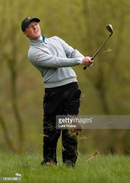 Craig Howie of Scotland plays his second shot on the 8th hole during Day Three of the Range Servant Challenge by Hinton Golf at Hinton Golf Club on...