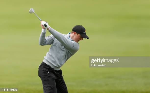 Craig Howie of Scotland plays his second shot on the 9th hole during Day Three of the Range Servant Challenge by Hinton Golf at Hinton Golf Club on...