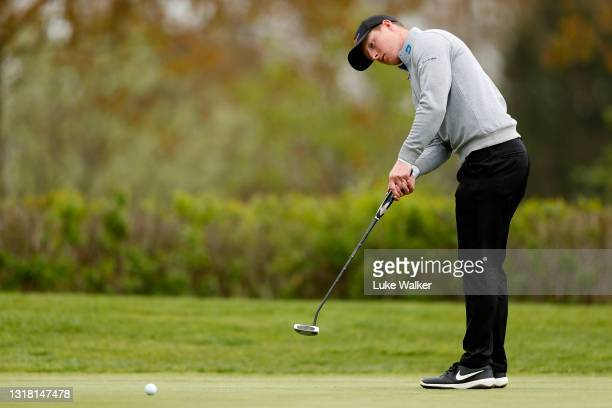 Craig Howie of Scotland putts on the 18th hole during Day Three of the Range Servant Challenge by Hinton Golf at Hinton Golf Club on May 15, 2021 in...