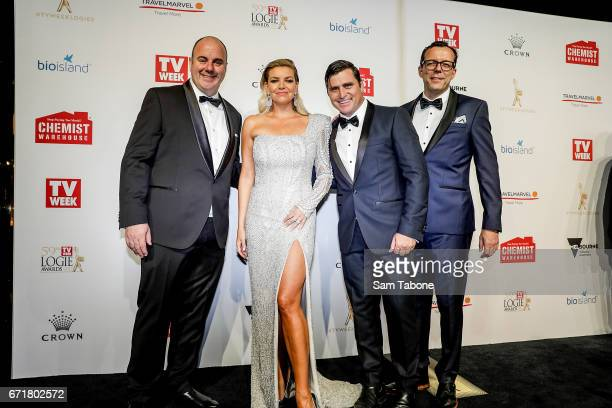 Craig Hutchinson Rebecca MaddernShane Crawford and Damian Barett arrives at the 59th Annual Logie Awards at Crown Palladium on April 23 2017 in...
