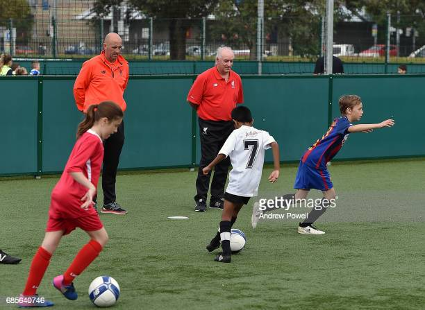 Craig Johnston and Gary Mcallister legends of Liverpool during a coaching session on May 20 2017 in Sydney Australia