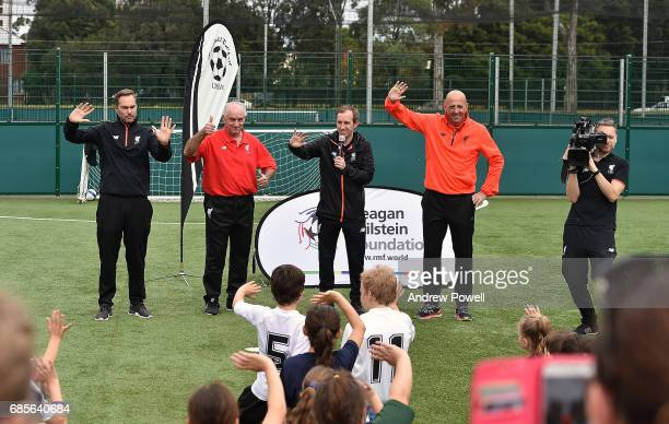 Craig Johnston Gary Mcallister and Jason Mcateer legends of Liverpool answer question during a coaching session on May 20 2017 in Sydney Australia