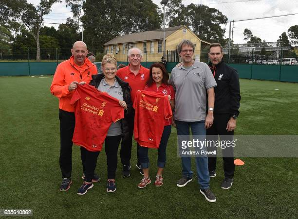 Craig Johnston Gary Mcallister and Jason Mcateer legends of Liverpool pose for a photograph during a coaching session on May 20 2017 in Sydney...