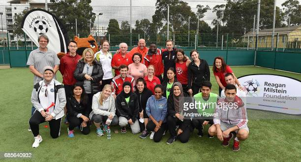 Craig Johnston Gary Mcallister and Jason Mcateer legends of Liverpool pose for a photograph with a team of under 12's during a coaching session on...