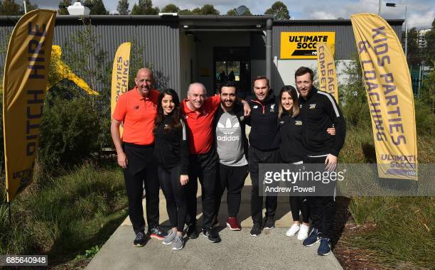 Craig Johnston Gary Mcallister and Jason Mcateer legends of Liverpool poses for a photograph during a coaching session on May 20 2017 in Sydney...