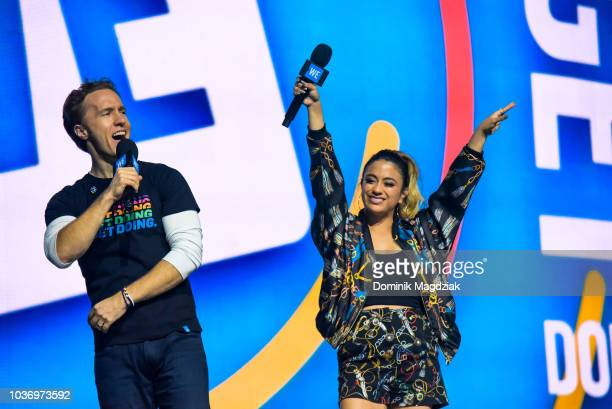 Craig Kielburger and Ally Brooke speak on stage during the 2018 WE Day Toronto Show at Scotiabank Arena on September 20 2018 in Toronto Canada