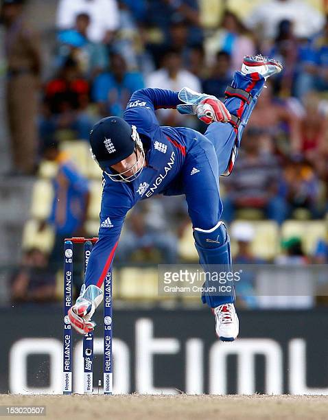 Craig Kieswetter of England dives during the A1 versus B2 ICC World T20 Super Eight match between England and New Zealand at Pallekele Cricket...