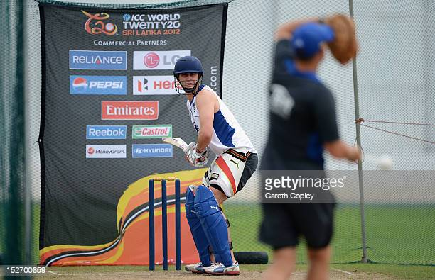 Craig Kieswetter of England plays at throwdowns from coach Andy Flower during a nets session at P Sara Oval on September 24 2012 in Colombo Sri Lanka