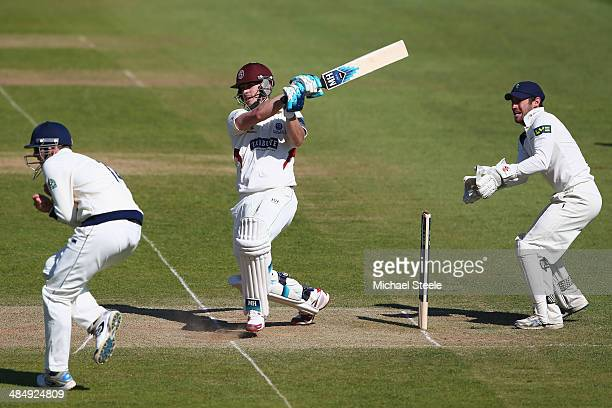 Craig Kieswetter of Somerset pulls a delivery from Adil Rashid of Yorkshire for four as wicketkeeper Andrew Hodd looks on and Alex Lees takes evasive...